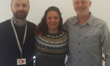 Photo from Left to right: Prof. Russell Stothard, Dr. Renata Candido and Prof. Tim St Pierre