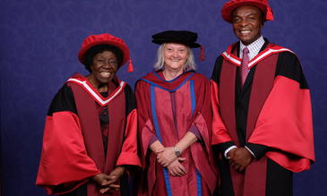 Foto-Cewek Director Professor Janet Hemingway with Honorary Degree recipients Dr Letitia Obeng (left) and Professor Victor Mwapasa (right)